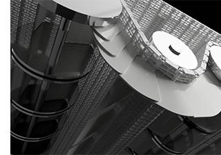 ベルト式連続液体凍結装置出口